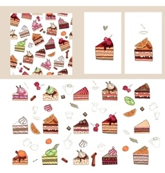 Set with different fruit cake slices vector