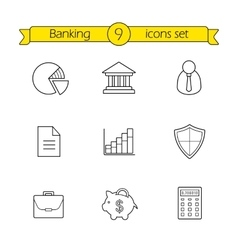 Banking and finance linear icons set vector