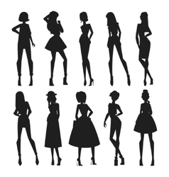 Fashion abstract girls looks black vector