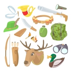 Hunting icons set cartoon style vector image