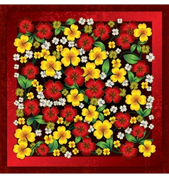 abstract floral ornament on red grunge background vector image vector image