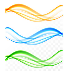 Abstract soft wavy light lines set vector