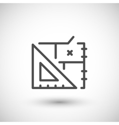 Architectural blueprint line icon vector image