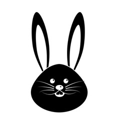 Black contour nice face of happy rabbit animal vector
