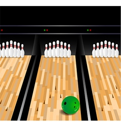 Bowling ball and skittle on wooden floor vector