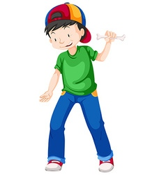 Boy in green shirt and blue jeans vector