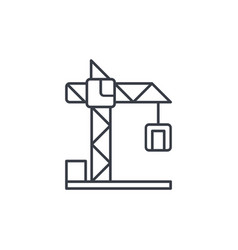 Building crane thin line icon linear vector