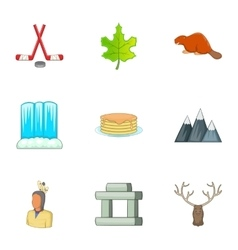 Canadian culture icons set cartoon style vector image