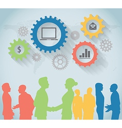 Colorful silhouette of business people vector