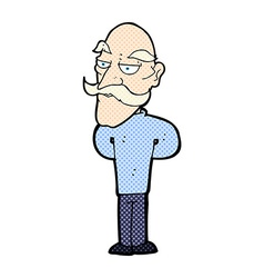 comic cartoon old man with mustache vector image vector image