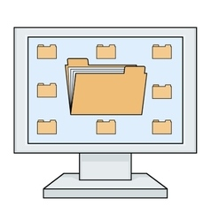 Computer with folders vector image vector image