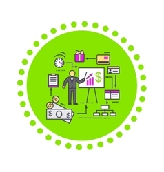 Concept of financial analysis icon flat vector