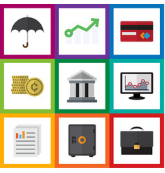 Flat icon finance set of growth bank chart and vector