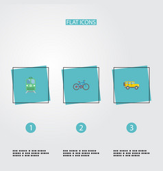 flat icons jeep metro bicycle and other vector image vector image