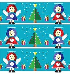 Geometric xmas pattern with angels vector