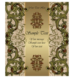 Golden invitation card with vintage ornaments vector