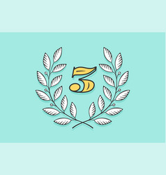 laurel wreath icon with number three vector image
