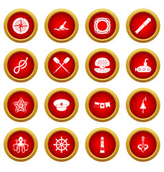 Nautical icon red circle set vector
