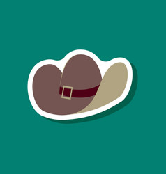paper sticker fashion clothes cowboy hat vector image vector image
