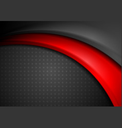 Red and black abstract smooth wavy background vector