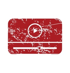 Red grunge media player logo vector image