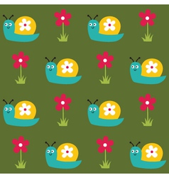 Seamless pattern with snails and flowers vector image vector image