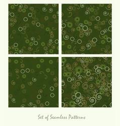 Set of seamless patterns spirals and circles vector