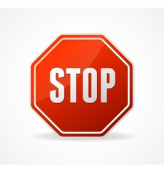 Stop Sign Red isolated on white vector image vector image