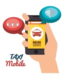 Taxi mobile hand holds cellphone online service vector