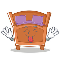 Tongue out cute bed character cartoon vector