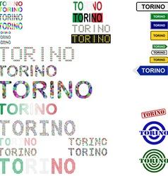 Torino text design set vector