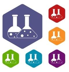 Transparent flasks icons set vector image