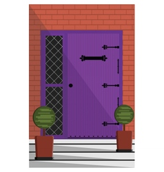 Vintage door entrance facade vector