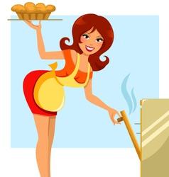woman baking vector image vector image