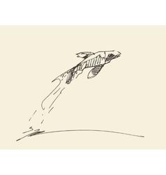 Sketch fish jumping water vector image