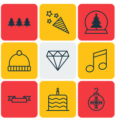 Set of 9 christmas icons includes celebration vector
