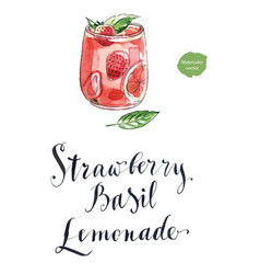 Refreshing drink with strawberry and basi vector
