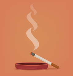 Smoking cigarette ashtray vector