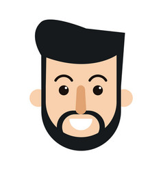 character beard man face smiling vector image