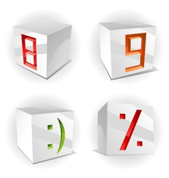 cube alphabet numbers 89 smile and percent vector image
