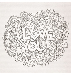 I love you hand lettering and doodles elements vector