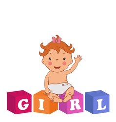Cute baby girl with children bricks vector