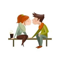 Young couple kissing on bench vector