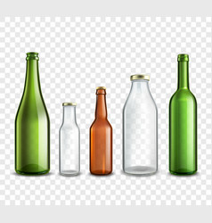 Glass bottles transparent vector