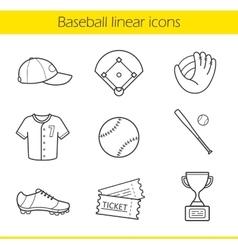 Baseball linear icons set vector image