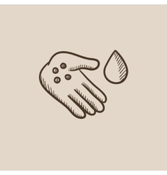 Hand with microbes sketch icon vector