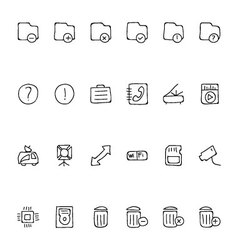 Media Hand Drawn Doodle Icons 7 vector image