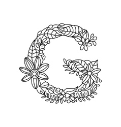 Letter g coloring book for adults vector