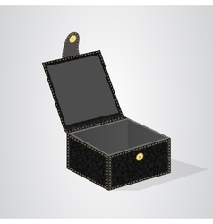 Leather black gift box with a lid on the button vector