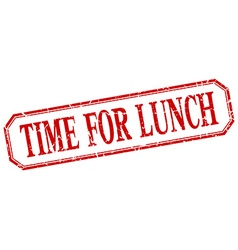 Time for lunch square red grunge vintage isolated vector